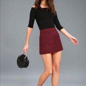 Lulu's Burgundy Suede Mini Skirt